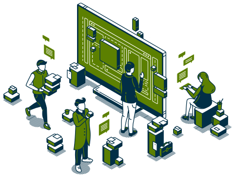 Graphic of cartoon Digital Beeline team analyzing data
